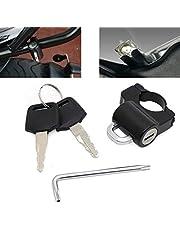ALPHA RIDER 汎用 ヘルメットホルダー キット 鍵と特殊なレンチ付き 22mmのハンドルバー対応 盗難防止 ヘルメットロック ガード ホンダ PCX125/150 グロム モンキー125 セロー250 エイプ カワサキ KLX125 YBR125 ヤマハ等に適用 スクーター ダートバイク等用 マットブラック