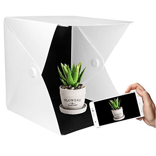 Yorbay Fotostudio Lichtzelt Fotobox, 40x40 cm dimmbar 3 Lichtfarbe (Warmweiß/Weiß/Kaltweiß), 10 Helligkeitsstufen, mit 6 Hintergrund...