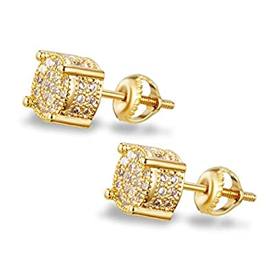 Round Stud Earrings For Women Men Iced Out CZ Stud Earrings 925 Sterling Silver Screw Back Hypoallergenic Hip Hop 18k Gold Plated Geometric Cubic Zirconia Ear Studs for Girl Boy 10mm EXGOX