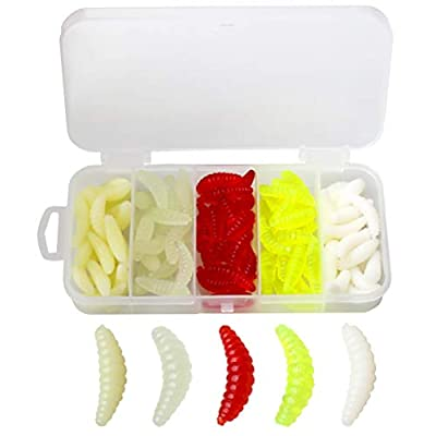 nuoshen 100 Pieces Worm Fishing Lures,Silicone Soft Lure Bait Tackle Artificial Earthworm with Box for Perch Bass Pike Trout Chub