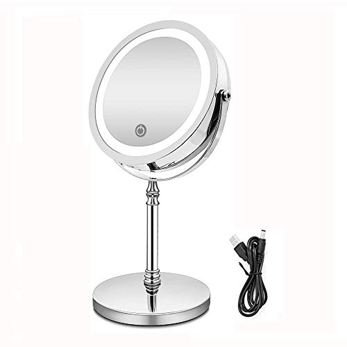 eLim Espejo Maquillaje con Luz, Espejo Aumento 10x USB Recargable LED Espejo Doble Cara con Luz LED Ajustable
