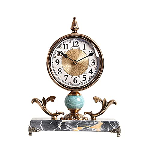 GUOQI Modern spiselklocka, dekorativ klocka, tyst urverk, marmorbas, brutet mönster keramik, kopparpläteringsprocess, lämplig för vardagsrum, studierum, kontor, etc