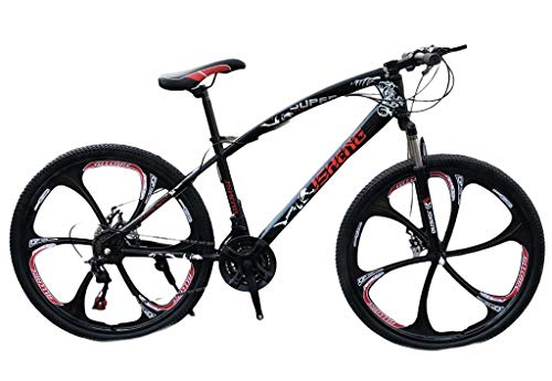 Adults Mens Mountain Bike Bicycle 21 Speed 26 inch Wheel MTB Suspension Women Kids (Black)
