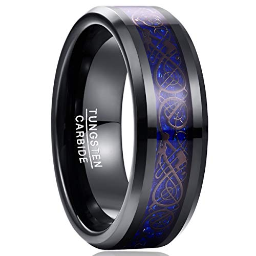 NUNCAD To My Soul Mate Tungsten Promise Ring celtic tungsten ring Celtic Dragon and Carbon Fiber Inlay Size 8