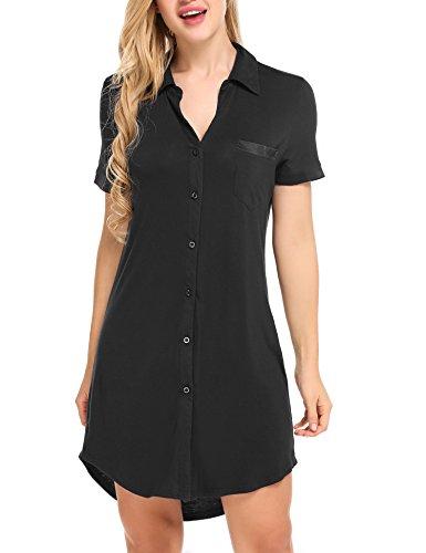 Avidlove Damen Viktorianisch Nachthemd T-shirt Luxus Nachtwäsche- Gr. M, Kurzarm 1: Schwarz
