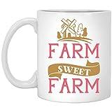 Tazza da caffè in ceramica divertente con scritta 'Farm Sweet Farm', idea regalo per mamma, papà, marito, moglie, fratello, sorella, collaboratore o migliore amico, tazza da caffè per regali, 311,8 g