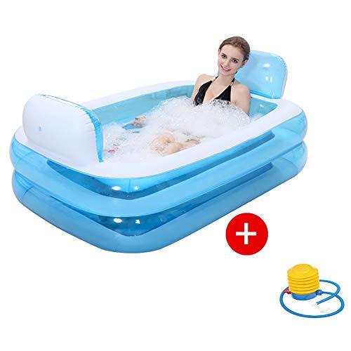Bañeras con Jacuzzi Hinchable Baño Doble Adulto Lavabo Barril de Baño PVC Almohada Cómoda Fondo de Burbuja Gruesa Airbag Independiente para Cada Capa Boquilla a Prueba de Fugas
