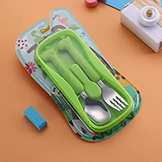 Cartoon Children's Safety Tableware 304 Stainless Steel Portable Eco-Friendly Health Dinnerware Set Kids Pupils School Utensils houseware (Color : Green)