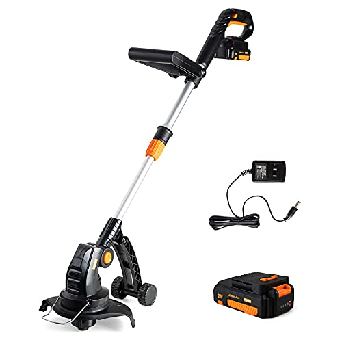 """Heywork 20V Cordless String Trimmer 9"""" Weed Eater Battery Powered, Telescopic Rod, 3.5lbs Lightweight Weed Wacker Cordless for Garden Grass Flowerbeds Trimming(2.0Ah Battery&Charger Included)"""
