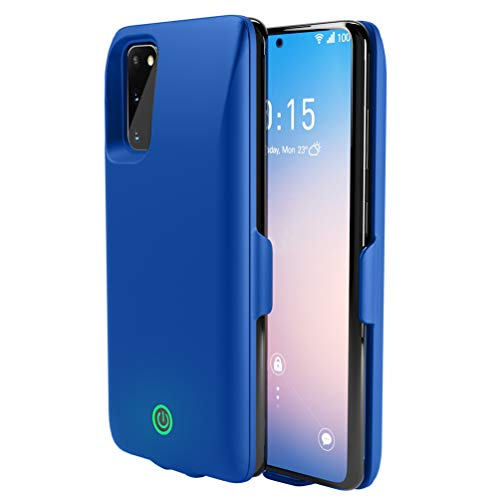 JXTech Galaxy S20 Battery Case, 7000mAh Portable Charging Cover Matte-Finish Hard PC Fingerprint Resistant Slim Fit Galaxy S20 Blue