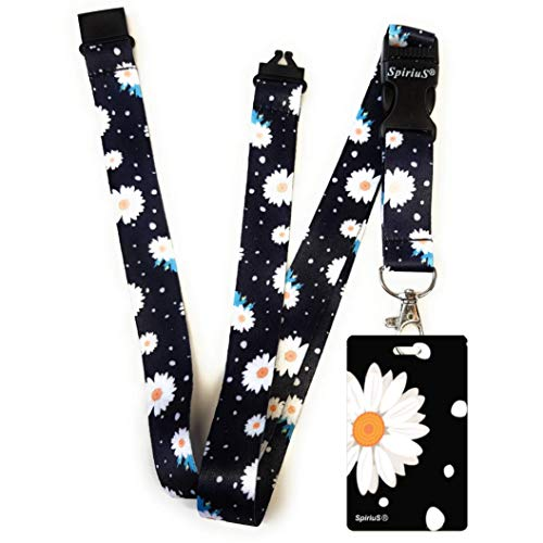 SpiriuS Lanière tour de cou avec porte-badge, peut être utilisée pour téléphone portable, carte d'identité, clés, lecteur MP3 ,USB - Daisies in black
