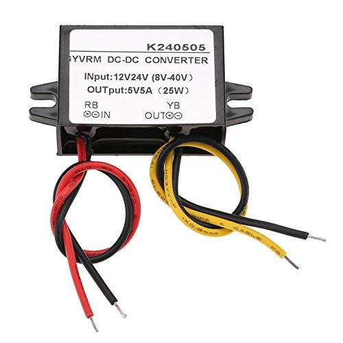 Germerse 12V / 24V a 5V 5A antichoque Convertidor Reductor a Prueba de Polvo de protección múltiple Incorporado, convertidor de CC, para cámara de Monitor de Pantalla LED de automóvil