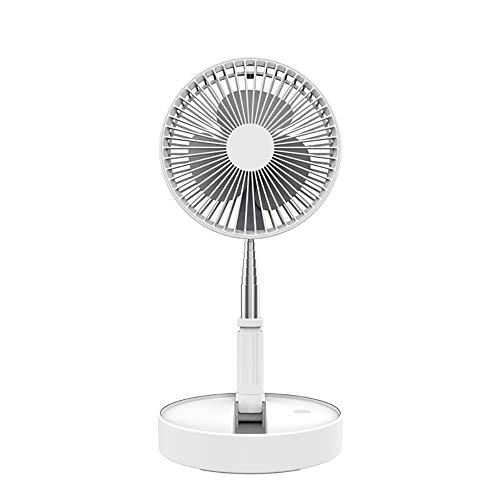 Ventilador de Pie Silencioso Altura Regulable y Plegable, Ventilador Extensible Plegable Ventilador de Pedestal Compacto Incorporado de 7200mAh para Hogar, Oficina, Camping, Picnic