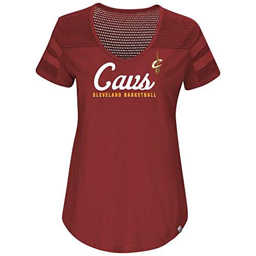 NBA Landslide Victory Mesh hombro cuello en V T-shirt de la mujer, Cleveland Cavaliers, Granate oscuro