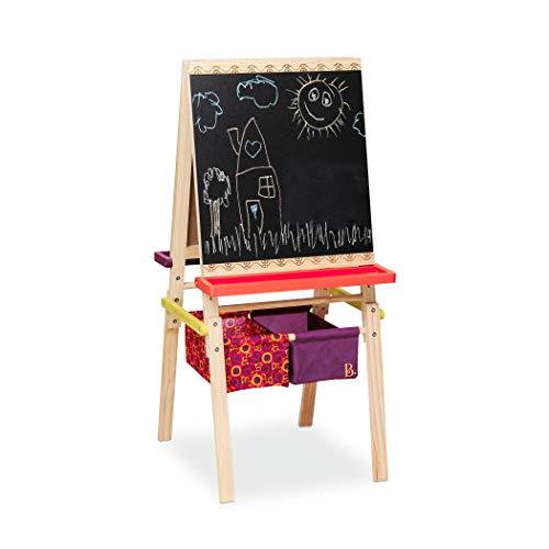 B. toys Tafel Kinder, Maltafel mit Kreidetafel, Whiteboard, Papierhalterungen, Ablagen und 2 Behälter für Zubehör – Staffelei Holz Spielzeug ab 3 Jahre
