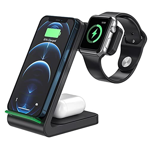 【Max 23W Quick Wireless Charging】 Trudin 3 in 1 Wireless Charger【Matte Finish & Case Chargable】 Fast Wireless Charging Station Universal Compatible with iPhone/Qi-Certified Phone/Airpods(No Adapter)