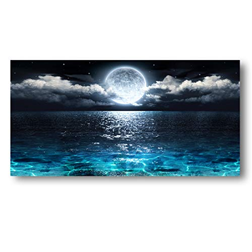 Wall Art Moon Sea Ocean Landscape Picture Canvas Wall Art Print Paintings Modern Artwork for Living...