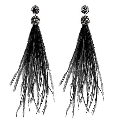 Pendientes para niñas, QWEA Pendientes de pelo de avestruz bohemio Borla Pendientes largos de cristal Joyería de mujer Joyería de boda