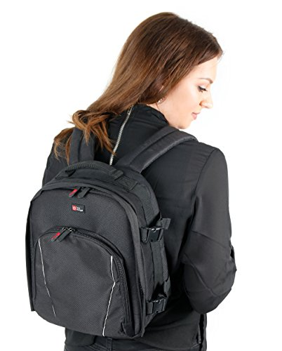 DURAGADGET 14 inch Padded Camera Rucksack Backpack Bag - Compatible with Canon EOS & PowerShot Range - Now with Rain Cover!