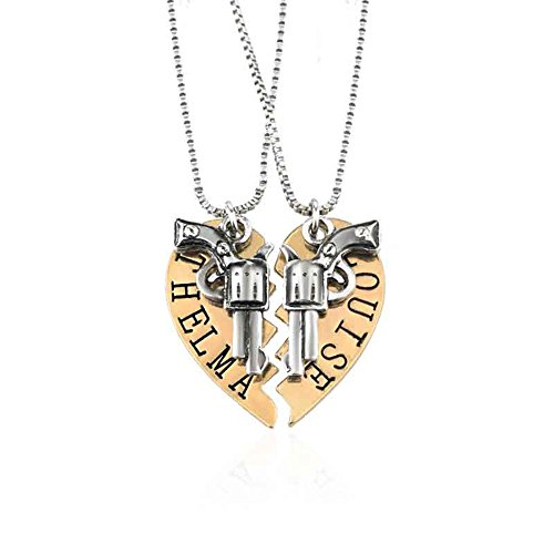 Yee Yeung Thelma and Louise Revolver Charm Split Heart-Shaped Puzzle BFF Necklace Set(Gold)