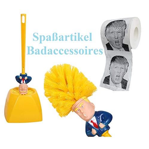 2 * Donald Trump Toiletpapierrol + 1 * Trump Toiletborstel Kits, Zacht Toiletpapier voor Thuis, Restaurants, Winkels, Bedrukt Toiletpapier