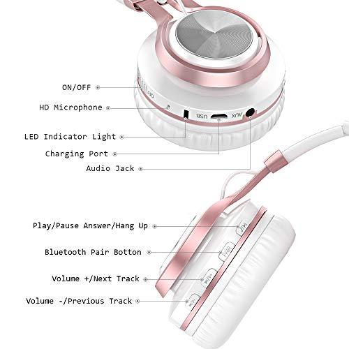 Baseman Wireless Bluetooth Headphones with Mic, On Ear Lightweight Foldable Wired Headphones, Hi-Fi Stereo Earphones Deep Bass Over Ear Headphone for Music Computer Laptop TV PC Kids(Pink White) 8