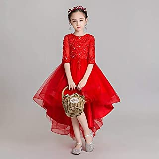 Luxury Pompon Princess Dress Girls Bouquet Beaded Long Section of Red Yarn After Short Before The Chinese Flower Girl Dresses Little Girls Host Costumes Western Style Piano Performances ryq