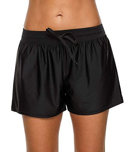 Anwell Damen Schwimmshorts uv Schutz Shorts Wassersport Schwimmshorts Bikinihose High Waist Strand Badehose Schwarz M