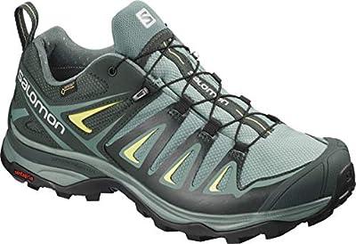 Salomon Women's X Ultra 3 GTX Hiking Shoes, ARTIC/Darkest Spruce/Sunny Lime, 7.5 Wide