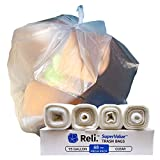 Reli. SuperValue 95 Gallon Trash Bags (68 Count, Bulk) Clear 95 Gallon Garbage Can Liners for Toter, Large Garbage Bags Heavy Duty 95 Gal - 96 Gallon Capacity