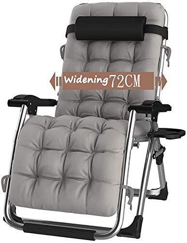 WJXBoos Sillas de jardín reclinables para Personas Pesadas Playa al Aire Libre Camping Camping Silla portátil Tumbona Plegable con Cojines Soportes 200 kg Gris