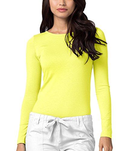Adar Womens Comfort Long Sleeve T-Shirt Underscrub Tee - 2900 - Citron - XS