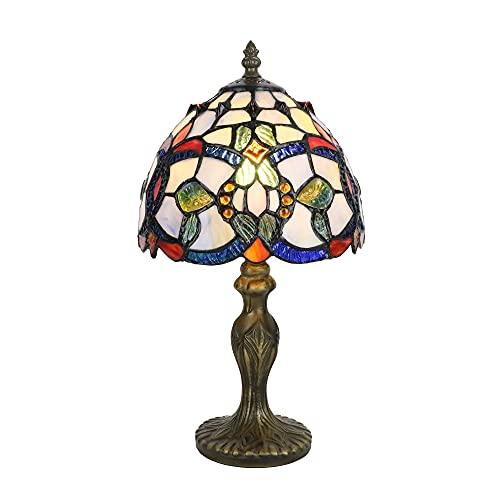 Tokira Tiffany Lámpara de Mesa Lounge, lámpara de mesa con vitrales de estilo barroco azul de 8 pulgadas, mini luz nocturna minimalista para dormitorio/estudio para niños, Bombilla LED Gratis