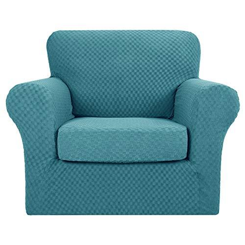 MAXIJIN 2 piezas más nuevas fundas de silla jacquard con brazos súper elástico antideslizante para sala de estar perros mascotas sofá sofá sofá protector funda de sillón (1 plaza, azul pavo real)