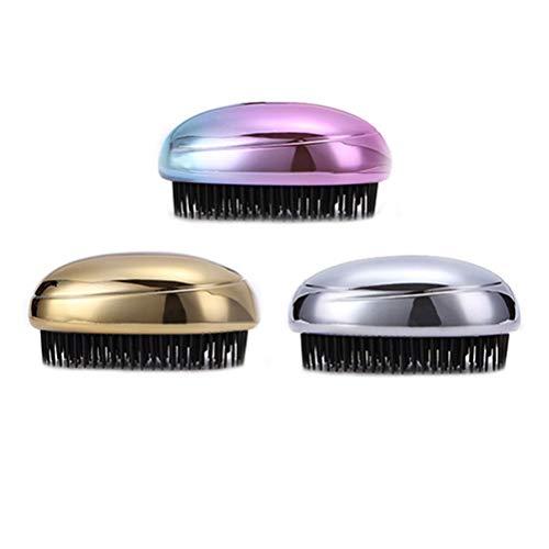 Lurrose 3pcs peigne de massage du cuir chevelu brosses brosse pommeau de douche shampooing brosse laveur de cheveux (doré/argenté/coloré)