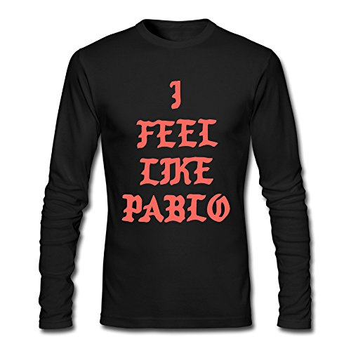 CUSTOM Black Kanye West I Feel Like Pablo Logo Men's Long Sleeve T-Shirt