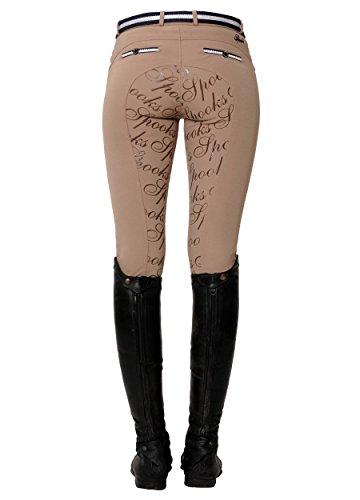 SPOOKS Reithose für Damen Mädchen Kinder, Full-Grip-Besatz Reithosen Leggings Turnierreithose - Ricarda Full Grip Pearls - Beige M
