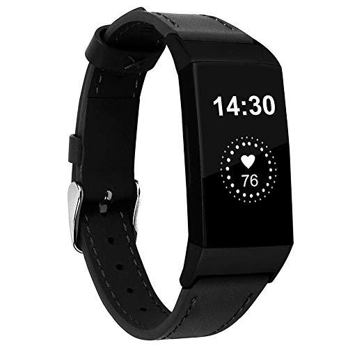 Nigaee Ersatzband für Fitbit Charge 4/Charge 3 Armband Echte Leder Uhrenarmband Kompatibel mit Fitbit Charge 3/4 Charge 3/4 SE Leder Sport Armbänder mit Metall Verschluss Unisex Uhrenarmbänder