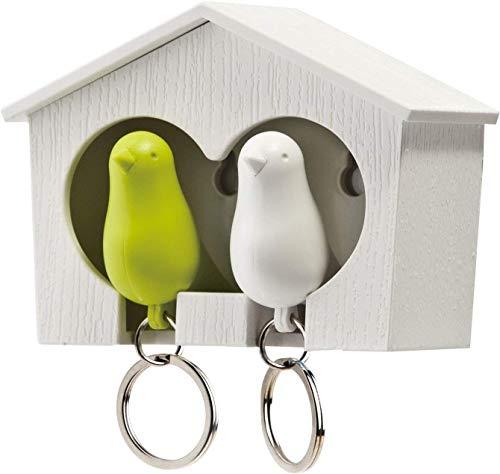 QUALY QL10124W-GR Schlüsselbrett Schlüsselahnhänger Duo Sparrow Key Ring, weiß/grün