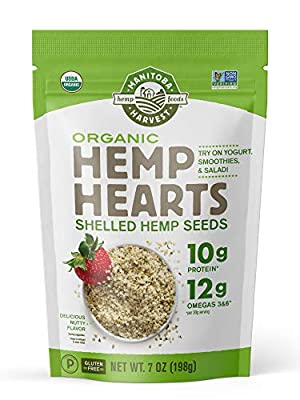 Manitoba Harvest Organic Hemp Hearts Shelled Hemp Seeds, 7 Ounce (Pack of 1); with 10g Protein & 12g Omegas per Serving, Non-GMO, Gluten Free from Manitoba Harvest
