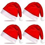 EKKONG Gorro Navideño, Gorro de Papá Noel para Fiestas, 4 Piezas, Circunferencia de la cabeza aprox. 60 CM, 38*28 CM (Adulto 4 PCS)