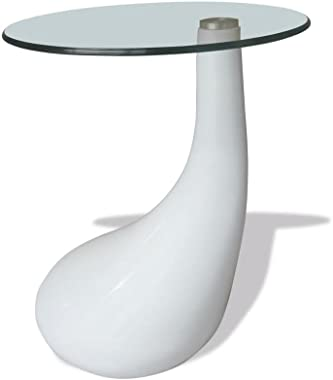 "Coffee Tables | Round Glass Top Center Table | Sofa Side Table for Living Room | Cocktail Table | White High Gloss 16.5"" x 21"