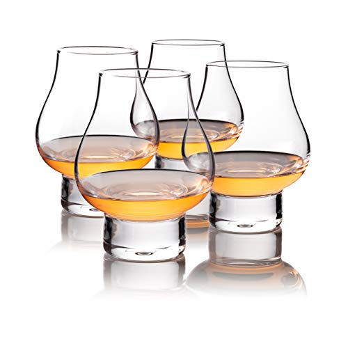 MULSTONE Scotch Snifter Glass - Whiskey Glasses Set of 4 - Cognac Snifter Glasses - Beautiful Cocktail Glassware for Home Bar - Old Fashioned Glass - Bourbon Scotch Whiskey Crystal Glasses