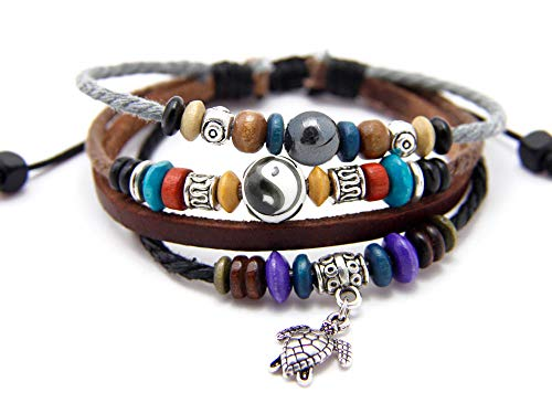 Agathe creation N02253 Bracelet tibetain Porte Bonheur - Pendentif Tortue en métal - Cuir, Chanvre et Perles de Bois, céramique (Yin Yang) et métal - Multicolore - Fait Main