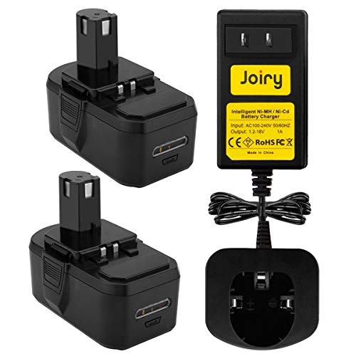 Joiry 18V 3500mA Ni-MH Battery and Charger for Ryobi ONE+ Power Tools P100 P101 ABP1801 ABP1803 BPP1820 (2pcs Replacement Batteries and 1 Charger)