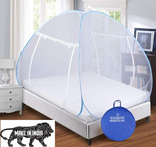 Backbone Mosquito Net Foldable King Size (Double Bed) with Free Saviours (Design 1)