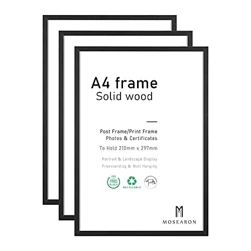 Marco de fotos tamaño A4, 21 x 30 cm, marco de certificado para montaje en pared o tablero de mesa (madera negra, A4, juego de 3)