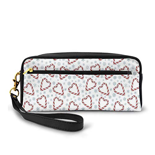 Pencil Case Pen Bag Pouch Stationary,Christmas Themed Heart Shaped Candies and Snowflakes Winter Season,Small Makeup Bag Coin Purse