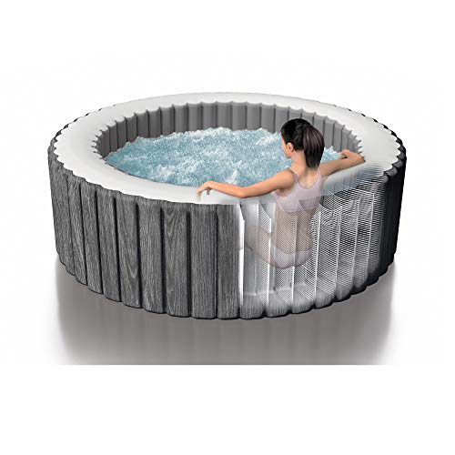 Intex 28439E Greywood Deluxe 4 Person Inflatable Spa/Hot Tub w/ LED Light