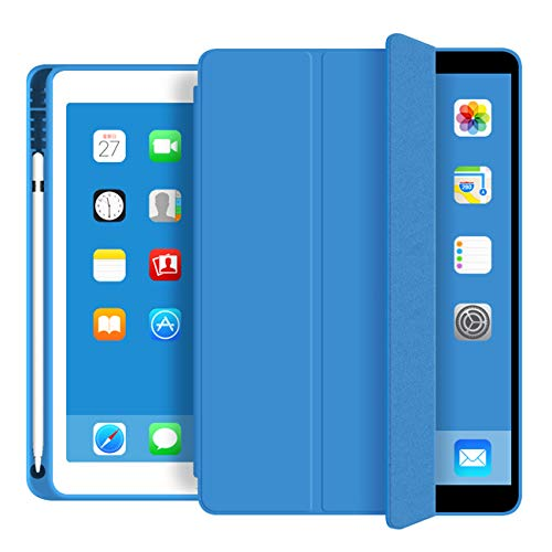 KenKe case for iPad 9.7 2018/2017 Case with Pencil Holder - Lightweight Soft TPU Back Cover with Auto Sleep/Wake,Protective for iPad 5th/6th Generation case 9.7 inch-Blue